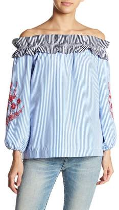 Romeo & Juliet Couture Pinstripe Off-the-Shoulder Blouse