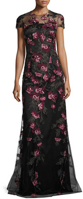 David Meister Cap-Sleeve Floral Tulle Gown, Pink/Gold/Black $750 thestylecure.com