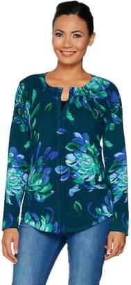 Isaac Mizrahi Live! Painterly Floral Printed Curved Hem Cardigan