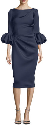 Jovani Puffy-Sleeve Pleated-Front Sheath Dress $560 thestylecure.com