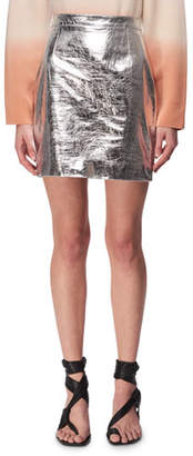 Proenza Schouler Metallic Leather Mini Skirt, Silver