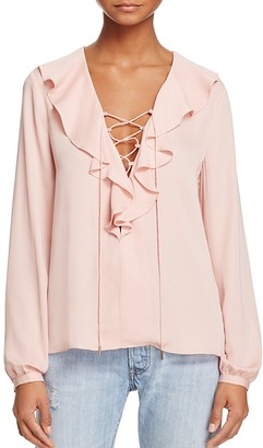 L'Academie The Ruffle Boho Lace-Up Top $168 thestylecure.com