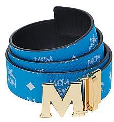 MCM Men's Antique M Reversible Belt in White Logo Visetos