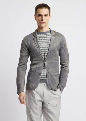 Emporio Armani Single-Breasted Blazer In Patterned Jacquard Knit