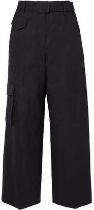 LOW CLASSIC - Belted Wool-blend Wide-leg Pants - Navy