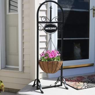 Fleur De Lis Living Lowestoft Outdoor Decorative Welcome Sign with Hanging Basket Planter Stand
