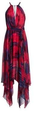 Halston Women's Printed Sleeveless High Neck Handkerchief Gown - Fuschia Tulip Impressionist Floral Print - Size 0