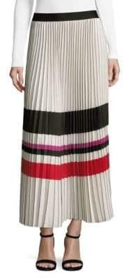 Max Studio Pleated Crepe Midi Skirt