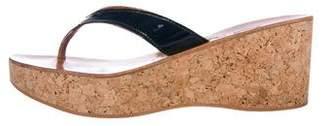 K Jacques St Tropez Patent Leather Wedge Sandals