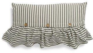 14x24 Ticking Stripe Ruffle And Button Pillow