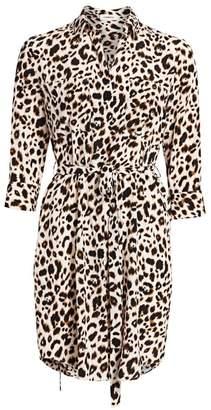 L'Agence Stella Leopard Silk Shirtdress