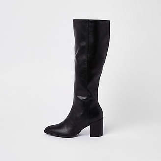 River Island Black faux leather knee high boots