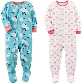 Carter's Baby Clothing Baby Toddler Girls 2 Pack Fleece Footed Pajama Sleep and Play Set