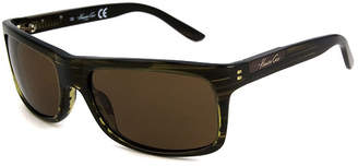 Kenneth Cole Sunglasses - Kc 4128 / Frame: Olive Green Stripe Lens: Brown