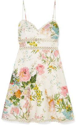 Zimmermann Heather Lace-trimmed Floral-print Linen Mini Dress