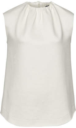 Jil Sander Navy Sleeveless Top with Ruched Neckline