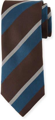Canali Large Diagonal Stripe Silk Tie, Brown