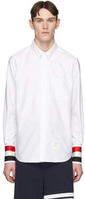 Thom Browne White Grosgrain Cuff Shirt