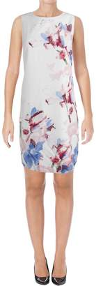 Vince Camuto Womens Floral Print Sleeveless Cocktail Dress White