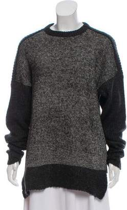 Line Rib Knit Crew Neck Sweater