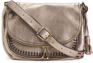 Medium Size Leather Messenger Crossbody