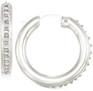 Signature Diamonds Tube Hoop Earrings in 14k Gold over Resin Core Diamond and Crystallized Diamond Dust