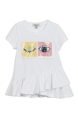 Couture Frenchie Mini Reversible Sequin Patch Asymmetrical Ruffle Shirt (Baby, Toddler, Little Girls, & Big Girls)