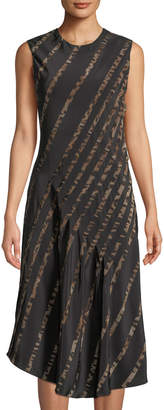 Roberto Cavalli Animal-Print Striped Silk A-Line Dress