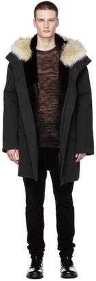 Yves Salomon Black Cotton Parka