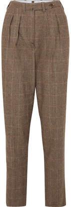Giuliva Heritage Collection Husband Herringbone Merino Wool Tapered Pants - Brown
