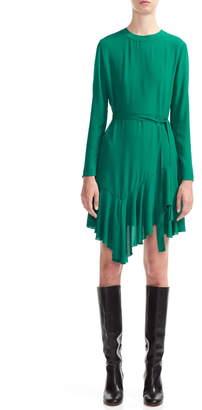 Maje Romea Asymmetrical Ruffle Hem Long Sleeve Dress