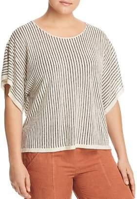 Eileen Fisher Plus Dolman Sleeve Stripe Top