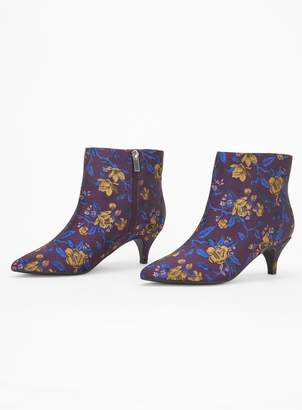 3a90333cc2f7 at Evans · Evans EXTRA WIDE FIT Purple Jacquard Kitten Ankle Boots