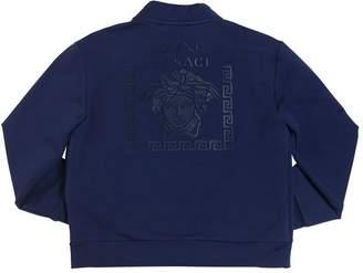 Versace Logo Rubberized Print Cotton Sweatshirt