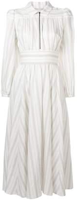 ALEXACHUNG Alexa Chung striped zip shirt midi dress