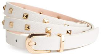 H&M Narrow belt with studs - White