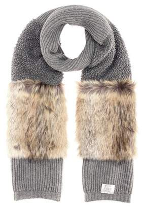 Stella McCartney Faux-fur trimmed wool scarf
