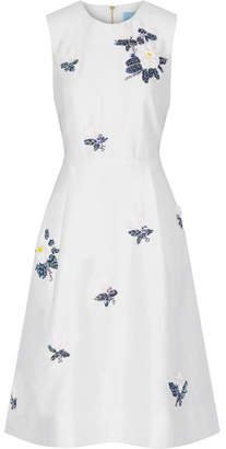 Draper James Embellished Silk And Cotton-blend Dress - Off-white