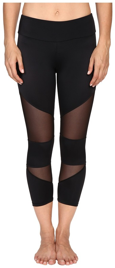 Onzie - Black Mesh Cut Out Capris Women's Capri