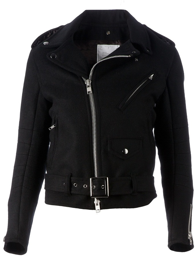 Sacai wool biker jacket