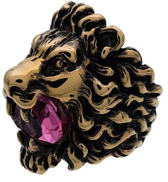 Gucci Gold-tone Lion head crystal ring