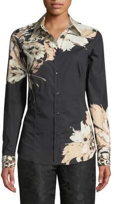Etro Oversized Poppy-Print Silk Tunic Shirt