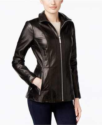 MICHAEL Michael Kors Leather Zip-Front Jacket, Only at Macy's $420 thestylecure.com