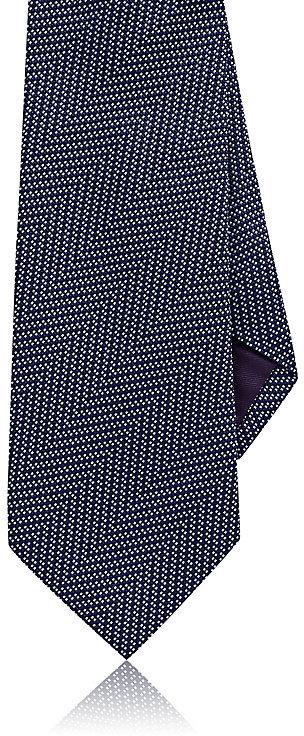 Ralph Lauren Purple LabelRalph Lauren Purple Label Men's Herringbone Silk Necktie-Navy, White, Blue