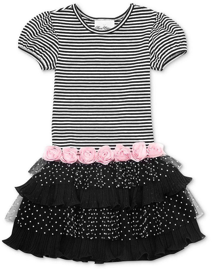 Rare Editions Girls Dress, Little Girls Striped-Bodice and Polka-Dot-Tutu Dress
