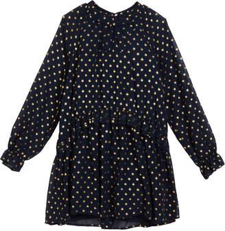 Mayoral Georgette Metallic Polka-Dot Dress Size 8-16