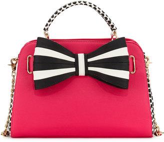 Betsey Johnson 1 2 3 Bow Satchel Bag, Fuchsia $95 thestylecure.com