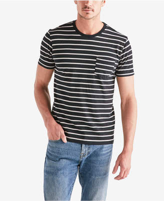 Lucky Brand Mens Stripe Jersey Pocket Crew