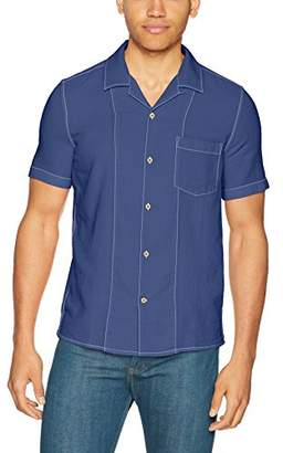 French Connection Men's Overdyed Textured Dobby Short Sleeve Reg Fit Button Down