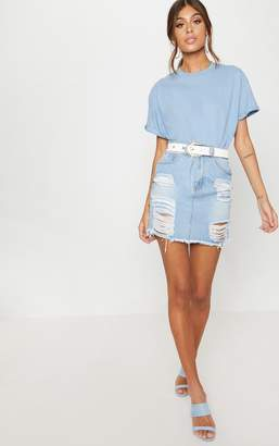 PrettyLittleThing Mid Wash Heavy Distressed Denim Mini Skirt